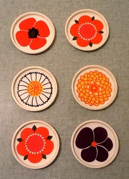 Set de 6 sous-verres vintage années 70