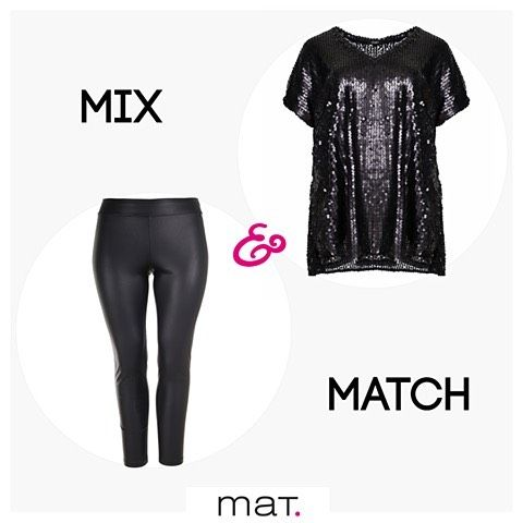 💘 Sequins crush 💘 Οι παγιέτες είναι hot!!! Yιοθέτησε τες και εσύ για ένα λαμπερό σύγχρονο look! Aγόρασε την μαύρη μπλούζα με παγιέτες / code: 661.1395 Αγόρασε το μαύρο leather like κολάν / code: 661.2041 #matfashion #ootd #style #inspiration #sequins #plussizefashion #psblogger #fw1617