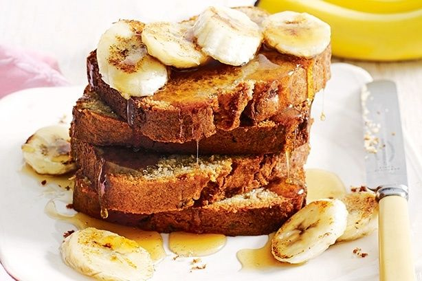 A slice of this gluten-free banana bread goes deliciously well with a few slices of bacon and banana, and a large helping of thick maple syrup.