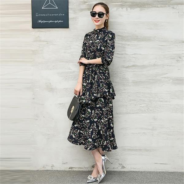 Irregular Floral Chiffon Dress 2019 Women'S Clothing Maxi Long Dress Jurken Autumn Long Sleeve Party Shirt Dresses C3528 dark bl 2