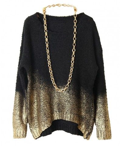 Gradient Gold Stamping Batwing Sleeves Pullover