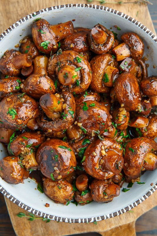 http://tipsalud.com Balsamic Soy Roasted Garlic Mushrooms
