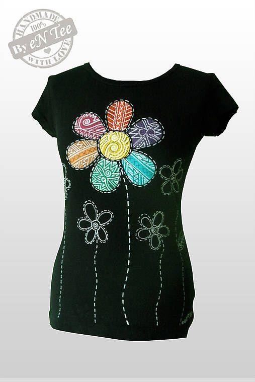 entee / Kvetinká veselá - dámske tričko čierne