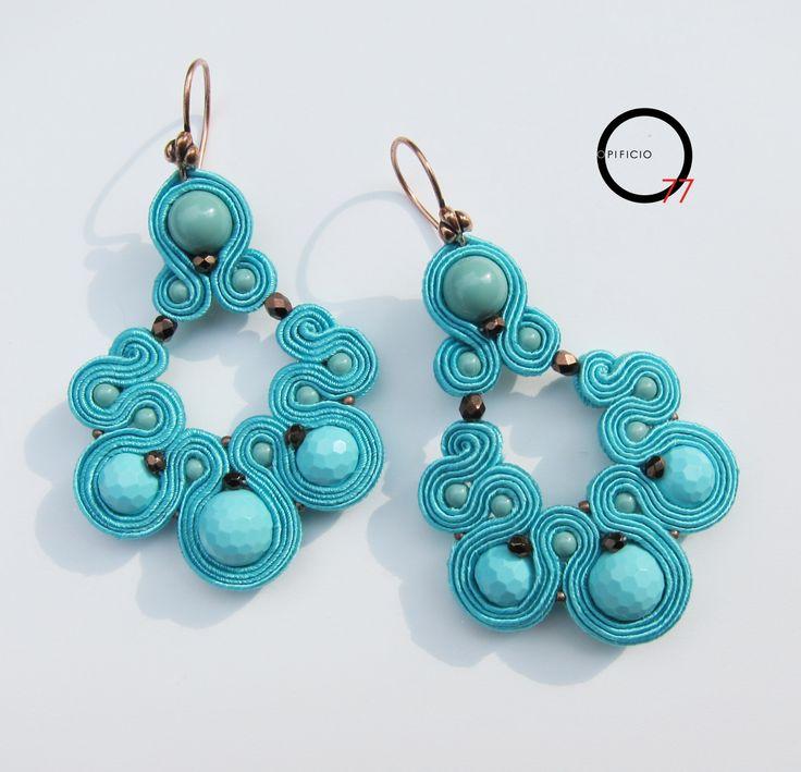 Orecchini soutache Turquoise. Design Giada Zampar -Opificio77-