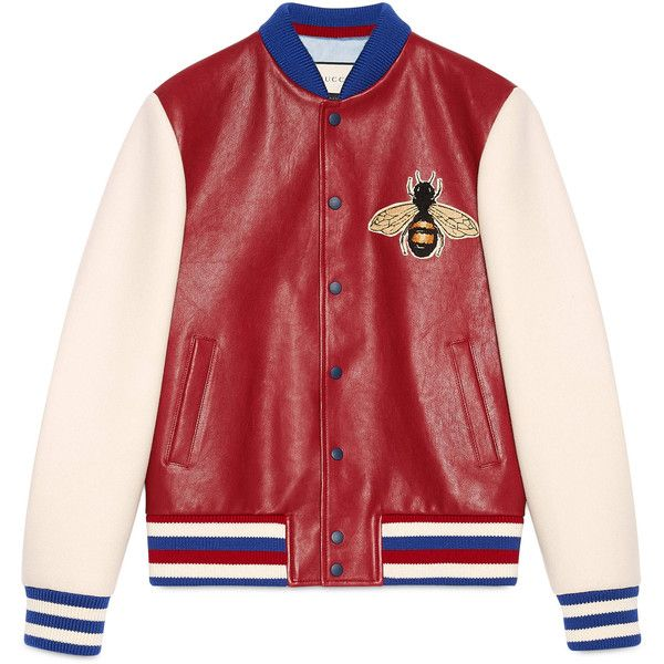 Gucci Leather And Felt Bomber With Embroideries ($3,135) ❤ liked on Polyvore featuring men's fashion, men's clothing, men's outerwear, men's jackets, jackets, outerwear, men, outerwear & leather jackets, ready-to-wear and mens real leather jackets