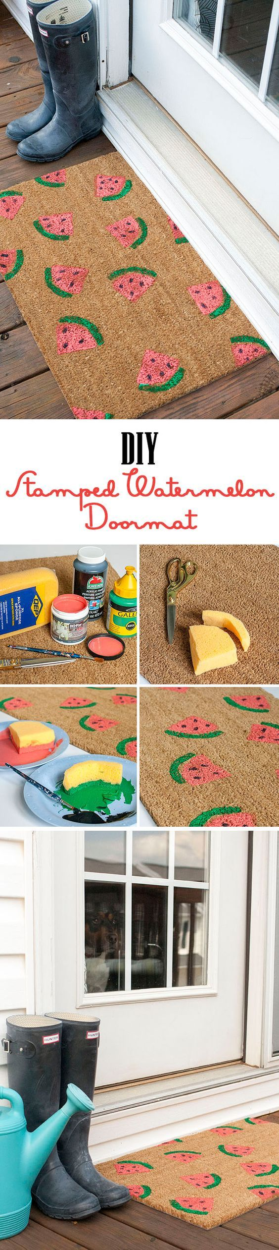 Hello, Summer! Come right on in. Easy Stamped DIY Watermelon Doormat with full directions on site!: