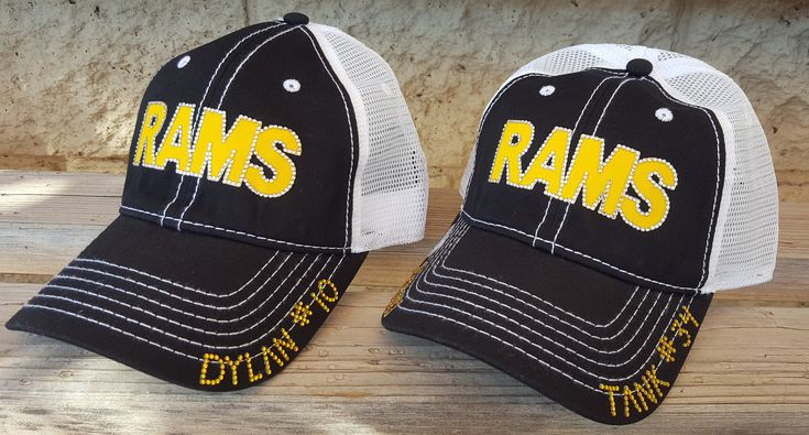Custom Football Team Hats, Custom Baseball Hats, Rhinestone Team Hats, Football MOM Hats, Rams Team Hats, Bling Baseball Hats