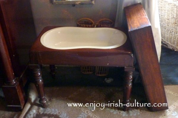 A Victorian bidet at Strokestown Park House, County Roscommon, Ireland, the quintessential Irish big house. A Palladian mansion dating to the 1740ies. Click on the photo to find tourist information on Strokestown House including our opinion and tips, and to read about the house itself on www.enjoy-irish-culture.com.