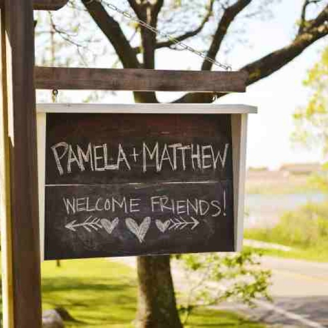 Welcome sign for guests. What a nice touch.  | Hippie Summer Camp wedding | Ruschmeyer's | Montauk NY