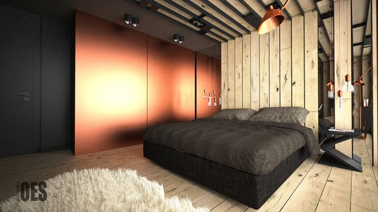 #cooperbedroomfurniture  cooper and wood in bedroom, wooden ceiling panels, wall mirror miedź w sypialni, drewniany sufit, lustro na ścianie, nowoczesne łóżko