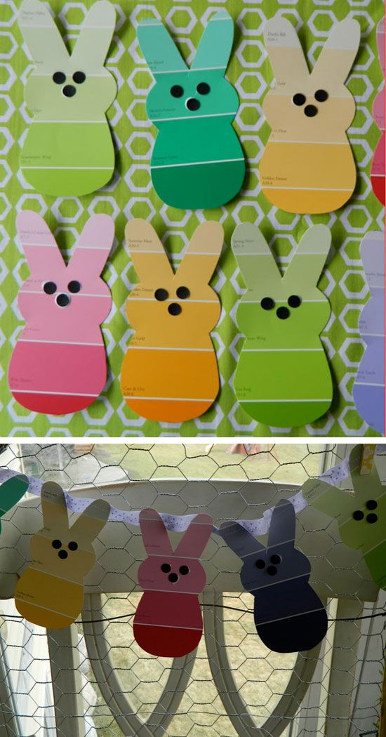 Paint Chip Bunny Garland | Click Pic for 25 Easy Easter Crafts for Kids to Make | Easy Easter Craft Ideas for Toddlers to Make