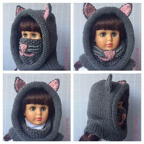 Ravelry: Cat Hood with Cowl pattern by Bina Alper