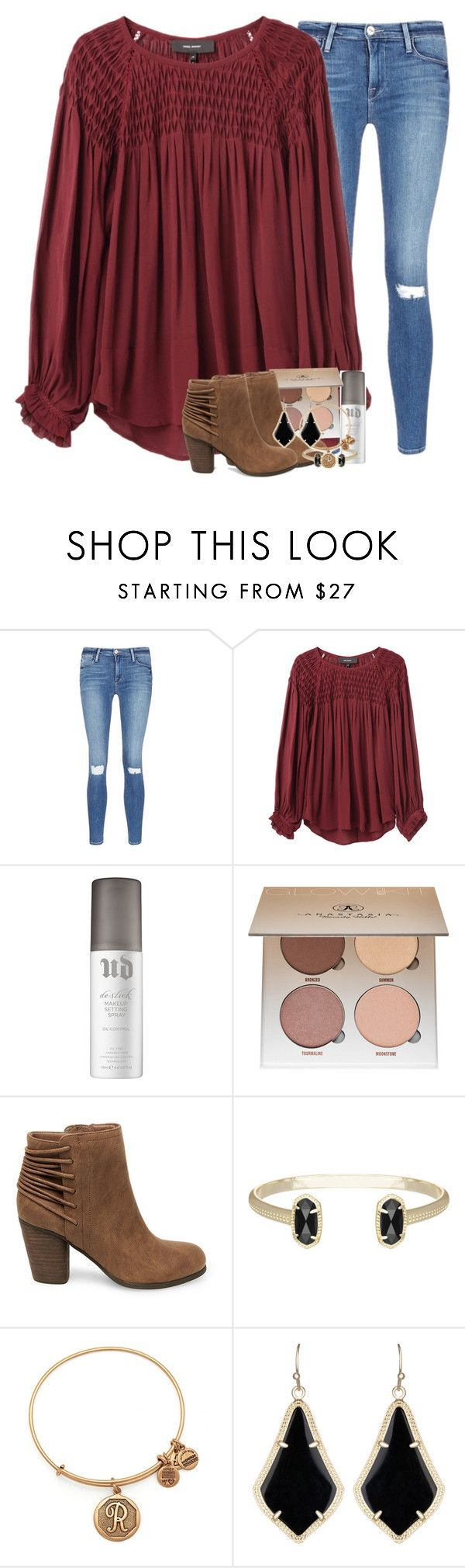 """""""wondering if i dodged a bullet or just lost the love of my life."""" by ellaswiftie13 ❤ liked on Polyvore featuring Frame, Isabel Marant, Urban Decay, Anastasia Beverly Hills, Steve Madden, Kendra Scott and Alex and Ani"""