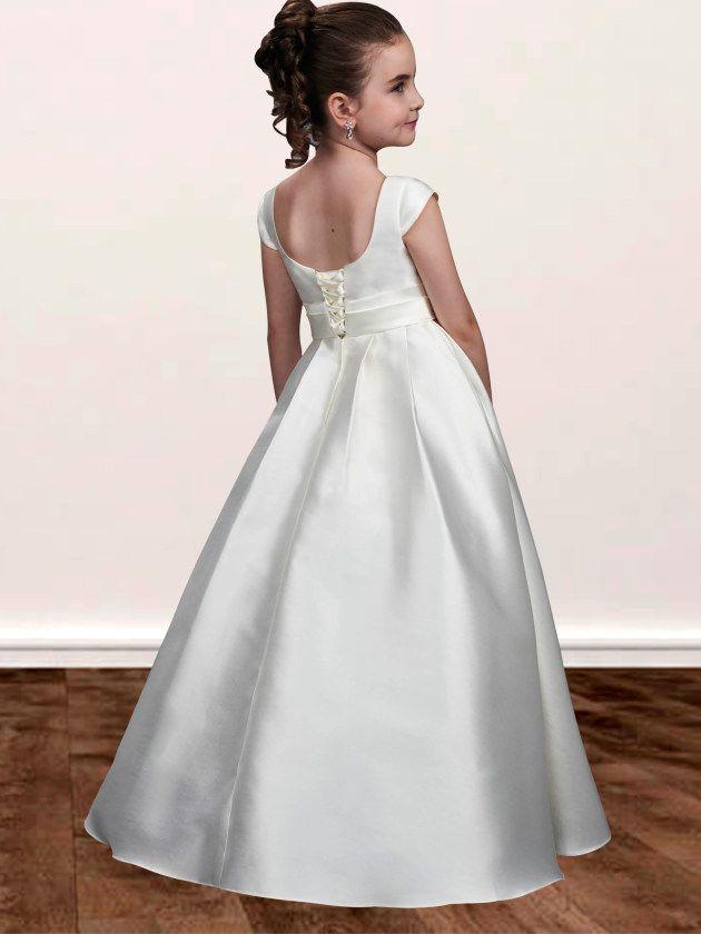 e4fa7703ec3 White Satin Flower Girl Dress  FlowerGirlDress