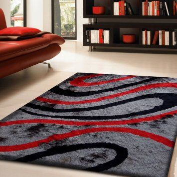 rug size shaggy rug in red gray and black with cotton backing polyester with two type of yarns appx two inch pile height thickness rug