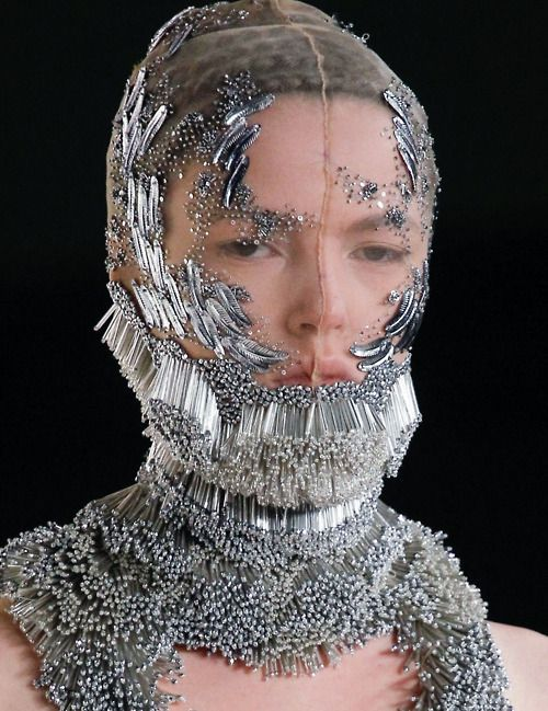 by Alexander McQueen, Spring collection 2012. An example of some awesome beadwork using bugle beads!