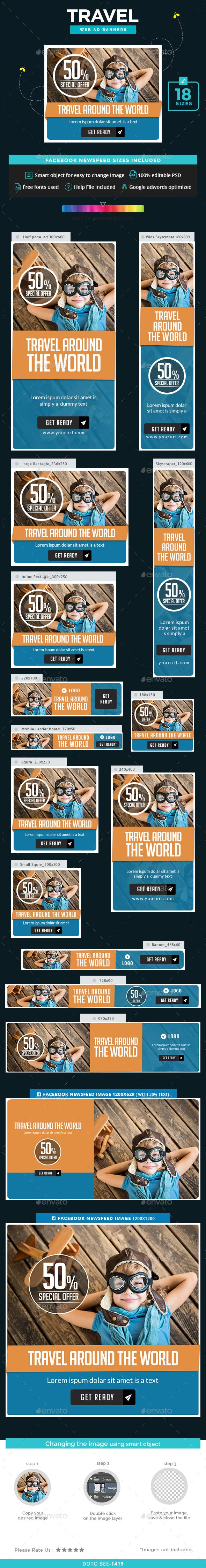 Travel Web Banners Template PSD. Download here: http://graphicriver.net/item/travel-banners/16229827?ref=ksioks