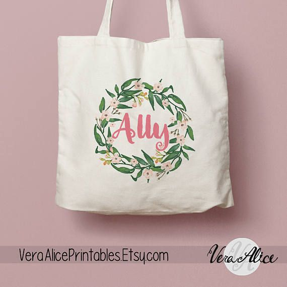 Personalized Natural Canvas Tote Floral Tote Custom Tote Bag Name Tote Bridesmaid Bag Tote Bag Gift Floral Bag Flower Beige Tote by VeraAlicePrintables