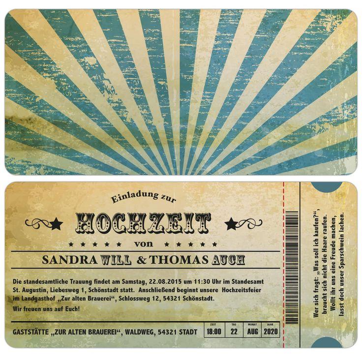 Einladungskarte zur Hochzeit - Vintage - Used-Look - Eintrittskarte - Ticket