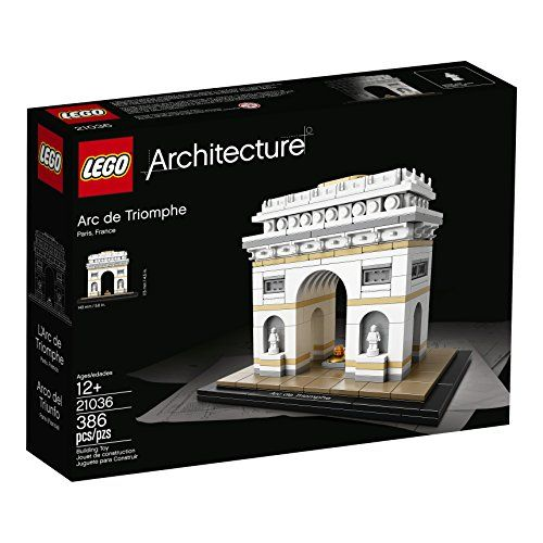 LEGO Architecture Arc De Triomphe 21036 Building Kit (386 Piece)  Features statue-adorned pillars and sculptural reliefs. Also includes a golden plate to represent the tomb of the unknown soldier and a buildable lego interpretation of the eternal flame  LEGO Architecture interpretation of the real-world architectural landmark, the arc de Triomphe  The included booklet contains information about the design, architecture and history of the monument (French and English only. Other languag...