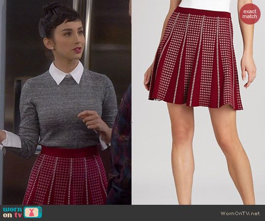 Mandy's red dotted skirt on Last Man Standing.  Outfit Details: http://wornontv.net/40519/ #LastManStanding