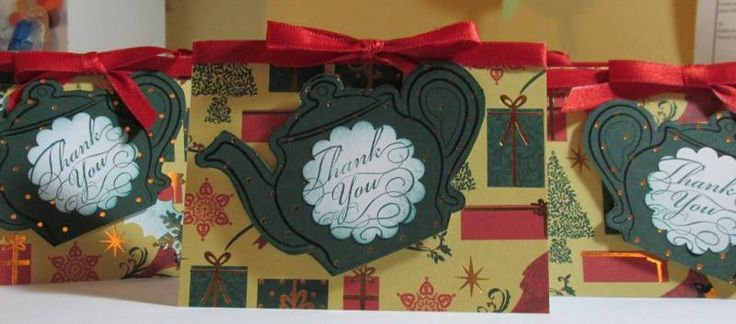 Christmas Tea Thank Yous smYous Sm, Crafts Ideas, Christmas Teas, Teas Pots, Cards Tags, Teas Ideas, Treats Gift