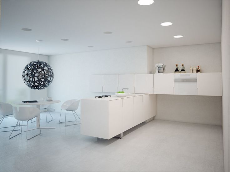 Apartments, Fascinating Modern Minimalist Apartment And Small Flat Interior Design Ideas With White Kitchen Minimalist Modern Designs Also Breakfast Nook And White Dining Table: Modern Minimalist Apartment Displaying Clean Impression