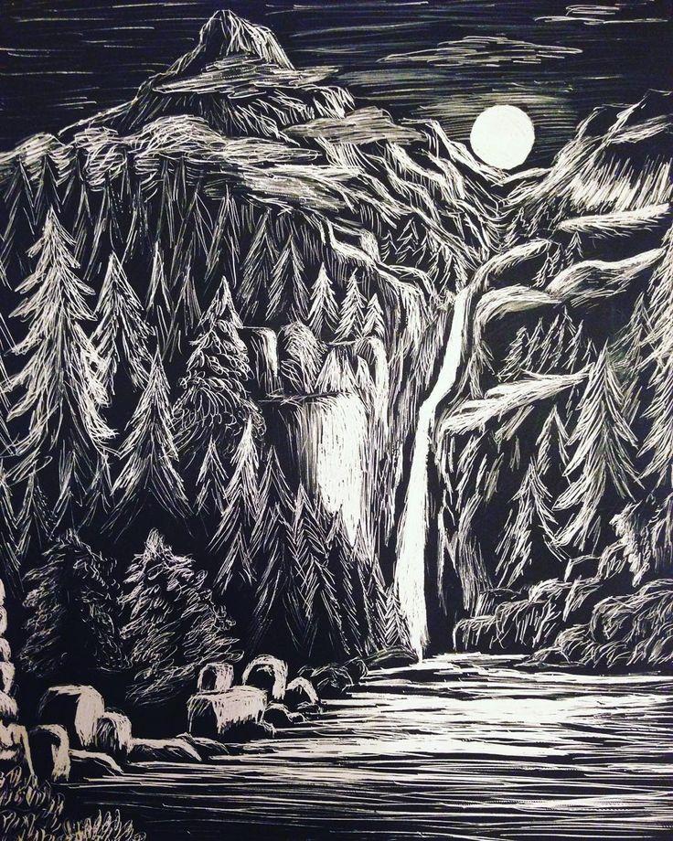 #tbt to this #scratchboard art #nature #waterfall #moonrise #art #artist #draw #drawing #artwork #scratchboardart #blackandwhite #ccandersonart