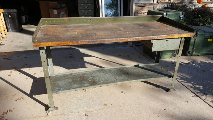 Really cool vintage industrial workbench table. Hardwood butcher block style top with steel legs. Came from a metal fabricating factory in Chicago. Measures 72 x 31 x 37. Good used condition with marks from age and use. Needs a good cleaning. Can be used as is for a really nice