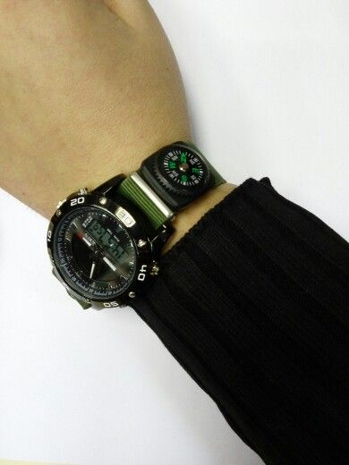 Solar Power Army LED Watch Date Day Alarm Dual-movt Water Resistant Military Wristwatch for Sports  -BLACK