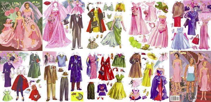 Buttercup Bungalow: Love this! 1950's Pink Wedding paper dolls.