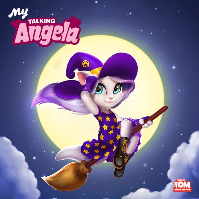 NEW #Halloween outfit in the latest My Talking Angela app update! Broom, broom! xo, Talking Angela #TalkingAngela #MyTalkingAngela #LittleKitties #Halloween #happy #trick #treat #love #cute #happy #pumpkin #celebrating #game #best #app