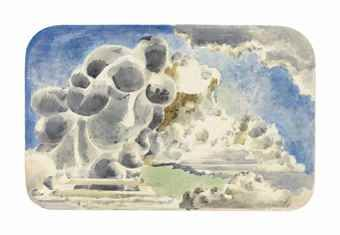 Cumulus Head (c.1944) by Paul Nash. Watercolour and crayon sketch for oil painting