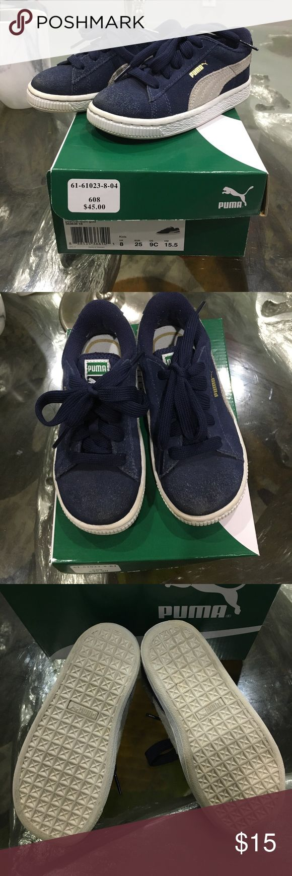 Blue Puma Suede Sz 9 Slightly worn. Suede shows wear near toes, can be brushed out with suede nuback brush. Great play shoes! Puma Shoes Sneakers
