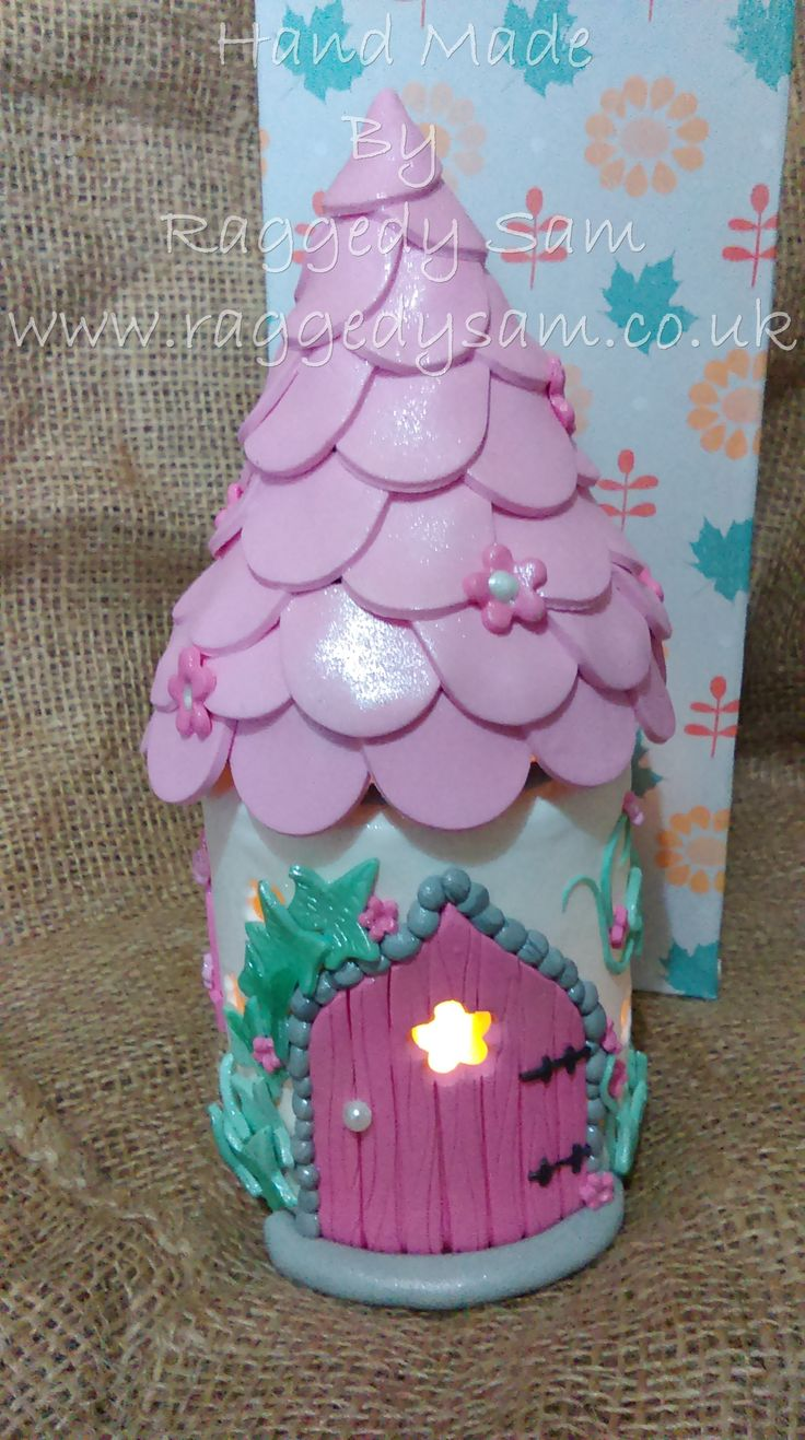 Polymer Clay Pink Fairy princess tower night light