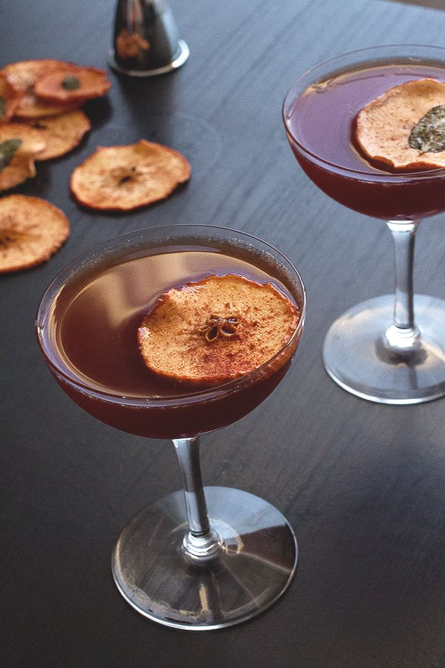 Autumn Spiced Apple Brandy Cocktail
