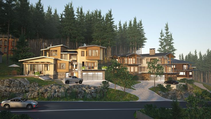 Anmore, British Columbia. Mountain Contemporary new homes. Multiple residential. Project rendering