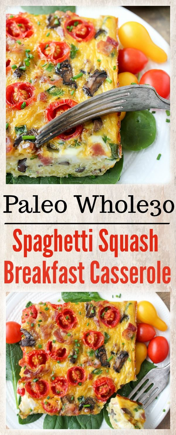 This Paleo Whole30 Spaghetti Squash Breakfast Casserole is hearty, packed with veggies, and a great make ahead breakfast. Gluten free, dairy free, and so delicious!