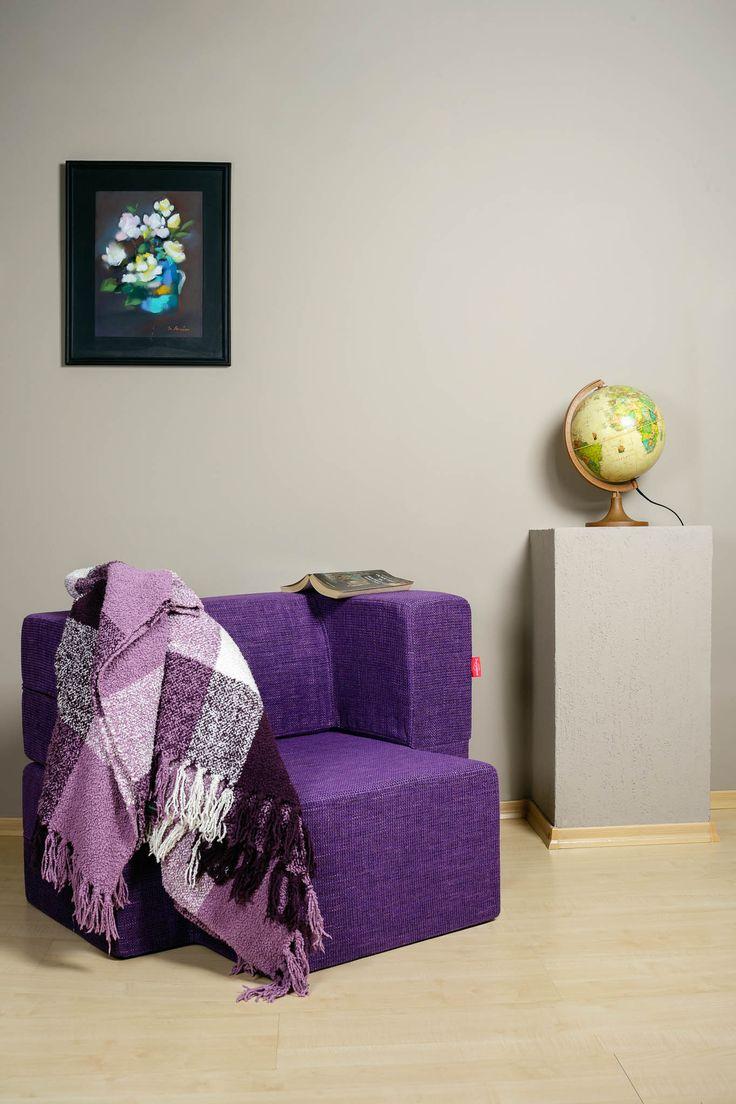 Mini-Tiramisu Modular Armchair / Colour: Blueberry #modular #armchair #cool #comfort #creative #foam #colourful #young #ottoman #interiordesign #home #cozy