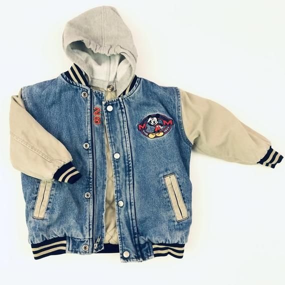Vintage Mickey Mouse Classic Lined Hooded Denim Varsity Jacket With Embroidery Disney Store Kids Xxs 2 3 Vintage Mickey Vintage Mickey Mouse Jackets