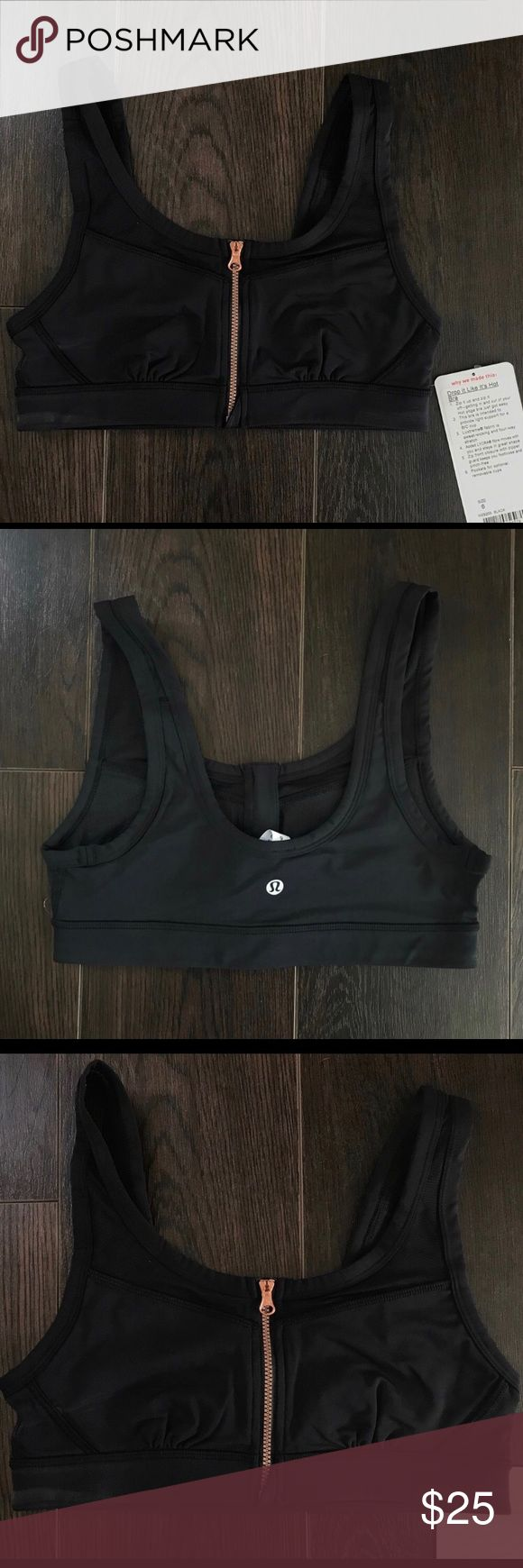 Lululemon Drop It Like It's Hot Bra This bra is brand new, never worn and still has original tag attached!  DISCLAIMER: The zipper has very little use, primarily for cosmetics only! I had one Posher return this prior to purchasing, stating that the zipper did not stay up well. Although the hang tag states light support for a B/C cup size, this bra is definitely geared toward someone with a more petite bust size!! Also does not include removable cups. lululemon athletica Intimates & Sleepwear…
