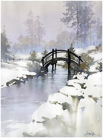 dawes bridge 2 by Thomas  W. Schaller Watercolor ~ 24 inches x 18 inches