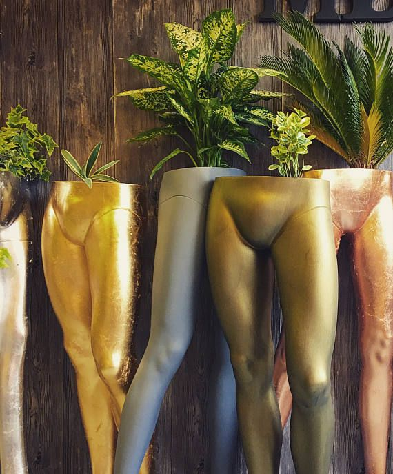 Upcycled male mannequin legs planter Gold leaf Bronze Copper