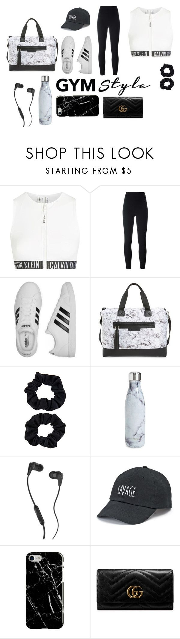 """bandw"" by carolinecorradine ❤ liked on Polyvore featuring Calvin Klein, Yeezy by Kanye West, adidas, Balsa 201, S'well, Skullcandy, SO, Recover, Gucci and gymessentials"