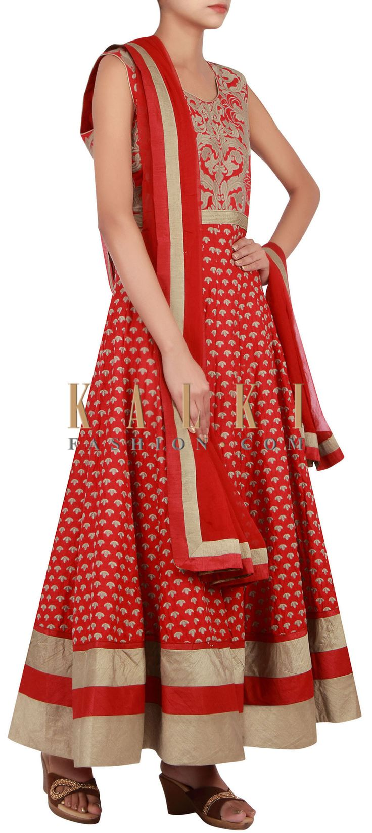 Buy Online from the link below. We ship worldwide (Free Shipping over US$100) http://www.kalkifashion.com/red-anarkali-suit-embellished-in-resham-embroidery-only-on-kalki.html