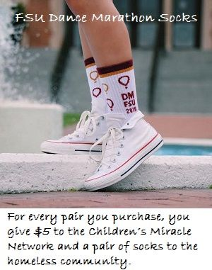 Have you seen these custom Dance Marathon at FSU socks by DivvyUp. Grab a pair for yourself and a friend, look awesome, support the cause!