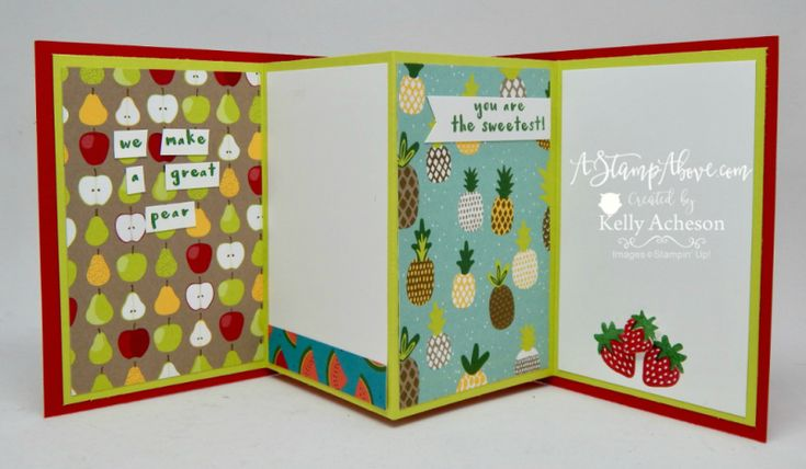 VIDEO TUTORIAL - FUN FOLD! You'll love how easy this fun fold is and paired with the Tutti-Frutti bundle it's a win win! Click not the photo see all the inside fun fold, all the details, watch the video and order any Stampin' Up! supplies you might need! www.AStampAbove.com