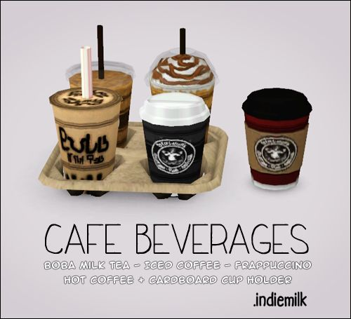 "00indiemilk: "" Just finished this set of cafe beverages. In the preview, I used the 'moveobjects on' cheat to place the drinks in the cup holder. I tried adding slots to the mesh, but there were some..."