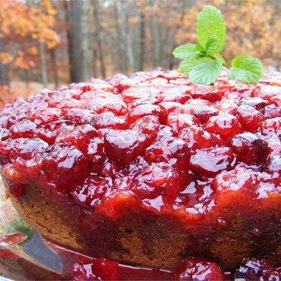 """Cranberry Upside-Down Sour Cream Cake I """"Awesome! I added a whole cup of sour cream and more of the cranberry and some lemon zest and my family LOVED it!"""""""