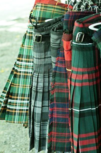 Kilts for sale at the outdoor market.  Highland Games, Scotland.